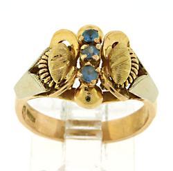 Blue Topaz 18kt Butterfly Ring
