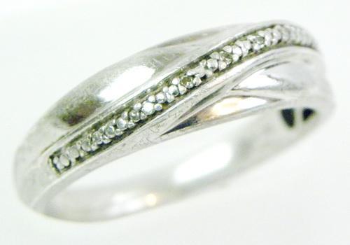 Sterling Silver Pave Diamond Band, Size 10.5