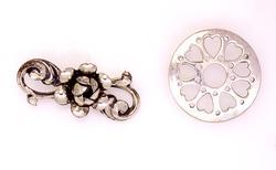 Two Sterling Pins, Rose Ribbon & Circle of Hearts