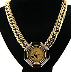 24kt Onyx & Diamond Chinese Coin Necklace