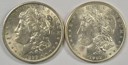Lovely pair of nice BU Morgan Dollars: 1899-O & 1902-O