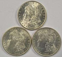 3 Choice BU Morgan Silver Dollars: 1885, 85-O, & 1887