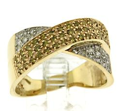 14kt Gold Multi Colored Diamond Crossover Ring