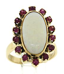Gorgeous 18kt Gold, Opal, & Ruby Halo Ring