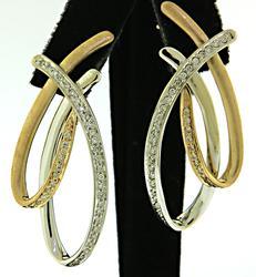 14KT Two Tone Gold Swirl Diamond Earrings