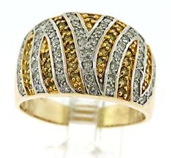 Stunning 14kt Gold Yellow and White Diamond Dome Ring