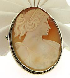 Elegant Carved Shell Antique Cameo Brooch