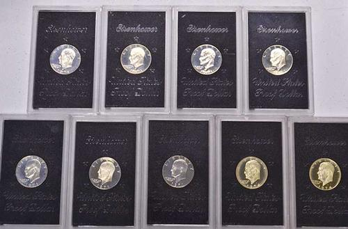 9 x Brown Pack Proof Ike Silver Dollars, 40%, No Box