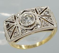 Platinum & Yellow Gold Diamond Antique Ring