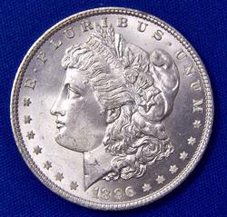 Brilliant UNC 1896 Morgan Silver Dollar