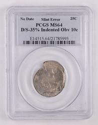 ERROR MS64 No Date Washington Quarter D/S-35% Indented Overse - PCGS