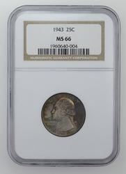 MS66 1943 Washington Quarter - NGC Graded