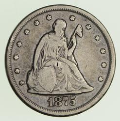 1875-CC Seated Liberty Twenty Cents - Circulated