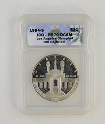 PR70DCAM 1984-S Olympiad Coliseum Commemorative Silver Dollar - ICG