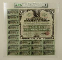 AU53 $50.00 U.S. 4th Liberty Loan 4-1/4% Gold Bond - PMG Graded