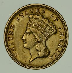 1856 $3.00 Indian Princess Head Gold Three Dollars - Circulated