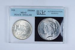 MS65 1928 Peace Silver Dollar - Graded INS