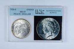 MS65 1926-S Peace Silver Dollar - Graded INS