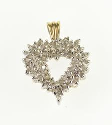 10K Yellow Gold 0.60 Ctw Diamond Encrusted Heart Cut Out Pendant