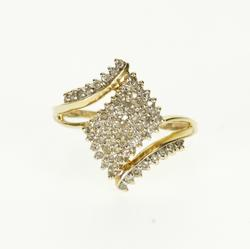 10K Yellow Gold 0.74 Ctw Diamond Encrusted Pointed Bypass Ring