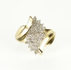 10K Yellow Gold 0.66 Ctw Diamond Wavy Cluster Pointed Bypass Ring