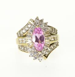 14K Yellow Gold Pink Topaz Cubic Zirconia Encrusted Fancy Ring
