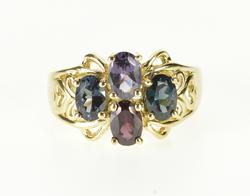 10K Yellow Gold Assorted Gemstone Oval Cluster Scroll Heart Ring