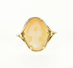 10K Yellow Gold Oval Carved Cameo Graduated Split Band Ring