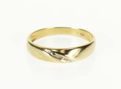 10K Yellow Gold Rounded Diamond Inset Grooved Channel Band Ring