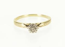 10K Yellow Gold Diamond Inset Round Cluster Peg Head Engagement Ring