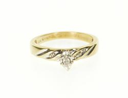 10K Yellow Gold Marquise Diamond Channel Accent Engagement Ring