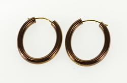 14K Yellow Gold Brown Finish Round Hollow Oval Hoop EarRings
