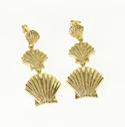 14K Yellow Gold Textured Scallop Sea Shell Tiered Dangle EarRings