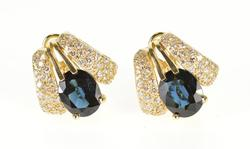 14K Yellow Gold 7.75 Ctw Sapphire Diamond Pave French Back EarRings