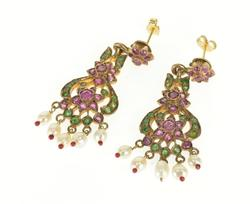 8K Yellow Gold 2.50 Ctw Ruby Emerald Seed Pearl Victorian EarRings