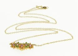 14K Yellow Gold Emerald* Citrine* Amethyst* Floral Cluster Necklace