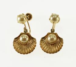 10K Yellow Gold Pearl Inset Sea Shell Dangle Screw Back EarRings