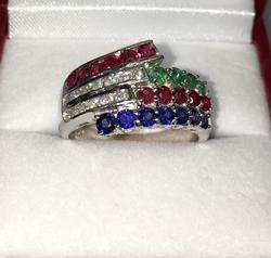 14kt Gold Natural Precious Gemstone & Diamond Ring