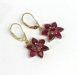 Big 4 Carat Red Ruby Earrings in 14kt Gold