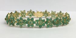 14kt Gold Natural Emerald Bracelet, 22+ Carats!