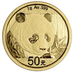 50y China 3gr Fine Gold Panda, Mint Sealed