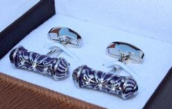 Classy silver and lavender color cylinder cuff links