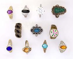 Eleven Sterling Rings, Turquoise, Multi-Colored CZ, Etc