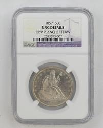 Unc Details 1857 Seated Liberty Half Dollar - NGC Graded