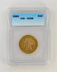 AU58 1862 $10.00 Liberty Head Gold Eagle - ICG Graded