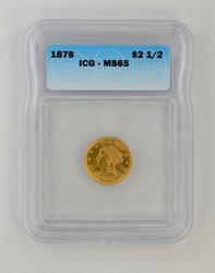MS65 1878 $2.50 Liberty Head Gold Quarter Eagle - ICG Graded