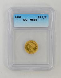 MS65 1852 $2.50 Liberty Head Gold Quarter Eagle - ICG Graded