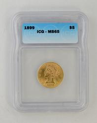 MS65 1899 $5.00 Liberty Head Gold Half Eagle - ICG Graded