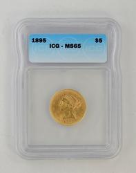 MS65 1895 $5.00 Liberty Head Gold Half Eagle - ICG Graded