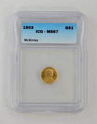 MS67 1903 $1.00 Louisiana Purchase McKinley Gold Dollar - ICG Graded
